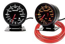 60mm Turbo Boost Gauge 3 Bar With Peak Warning White/Amber Light Red Hose