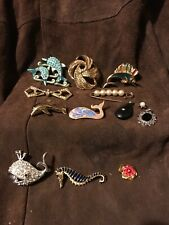 Vintage Lot Of Pins Brooches Pendants Doliphan Sailfish Whale Seahorse Porpoise
