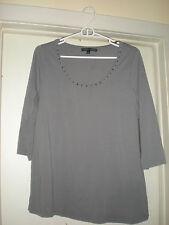 Women's Elena Solano Scoop Neck 3/4 Sleeve Gray Blouse 1X