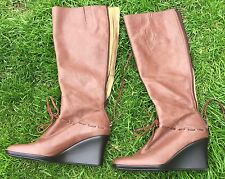 "NINE WEST DESIGNER BACK ZIP LT  BROWN LEATHER  BOOTS WITH WEDGE 3"" HEEL - UK 7W"