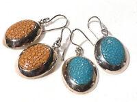 Bijou argent 925 authentiques boucles d'oreilles pendantes galuchat earrings