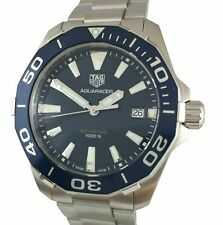 NEW Tag Heuer Mens WAY111C.BA0928 Aquaracer Stainless Steel Watch Blue Dial