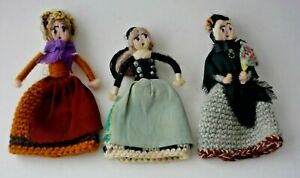 Vintage Hand Knitted & Hand Decorated Lady Egg Cosies All With Great Detail X 3