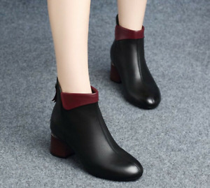 Women's Martin Boots Point Toe Thick-Heeled Shoes Mid-Heel Short Tube Fashion