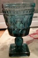 3 EUC Set Indiana Glass Colony Park Lane Wine Cordial Goblets Teal Blue 4-1/2""