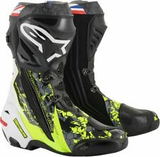 Alpinestars Supertech Crutchlow Mens LE Motorcycle Boots Black/White/Fluo Yellow