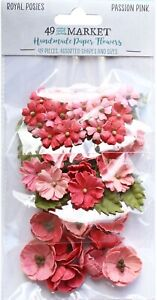 49 and Market Royal Posies Paper Flowers 49/Pkg-Passion Pink