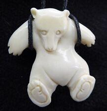 Bear Handmade Carved Water Buffalo Bone White Amulet Pendant Necklace Cord