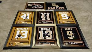 New Orleans Saints Drew Brees Thomas Kamara Framed 8x10 Jersey Photo Man Cave