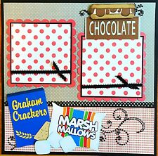 Handmade Paper Piecing S'mores Night 12x12 Premade Scrapbook Layout Page