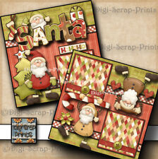 SANTA ~ CHRISTMAS 2 premade scrapbook pages layout paper piecing DIGISCRAP A0191