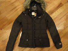 NWT WOMEN HOLLISTER DARK BROWN DOWN JACKET COAT S >>>SOLD OUT<<<>STUNNING<