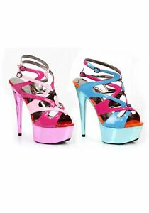 Ellie Shoes 609-GUAVA 6 Inch Metallic Platform With Color Blocking