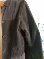 Witchery Suede Long brown jacket, 5 buttons, size M, Handmade in Australia, belt