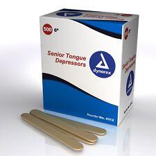 "Dynarex - Tongue Depressors, 6"", Senior. Non Sterile. 500/Box. #4312. NEW"
