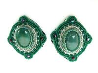 Lot of 2 Green Stone Oval Cabochons with Beaded Bezels DIY Craft Seed Beads