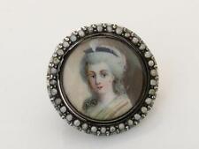 Antique GEORGIAN peinte à la main miniature SEED PEARL & SILVER Portrait Broche/PIN