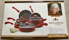 Paula Deen Signature Nonstick 15 Piece Porcelain Cookware Set Red ~New In Box