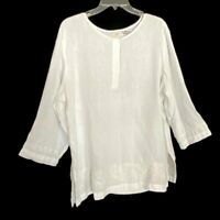 J. Jill Size Large White 100% Linen Embroidered 3/4 Sleeve Pullover Top