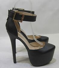"new Black 6.5""Stiletto high heel 2.5""platform  ankle strap sexy shoes Size  9"