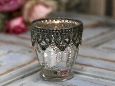 Teelichthalter Windlicht Kerzenglas Bauernsilber Landhaus Shabby Chic Antik