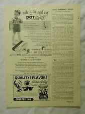 1949 Magazine Ad Page Dot Snappers Kit College Inn Chicken ala King Clorox Ad