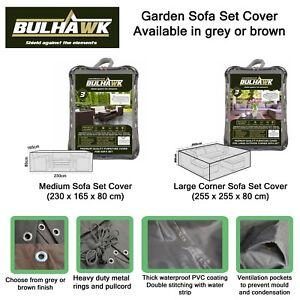 BULHAWK PREMIUM QUALITY OUTDOOR CORNER SOFA SET GARDEN TABLE FURNITURE COVER