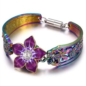 Snap Bracelet Women Jewelry Colorful Flower Magnetic 18mm Button Metal Bangle Us