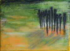 """PAYSAGE ABSTRAIT SUR TOILE peinture TABLEAU original signé HZEN """"EXIL"""" 22x16cm"""