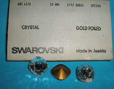 SWAROVSKI ® - 1 Pz  Cabochon Quadrato 4470 -20 mm.  Crystal Gold Foiled