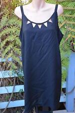 BeMe OCCASIONS Size 16 DIP HEM Black Tunic TOP NEW rrp $49.99 Cut-Out Neckline