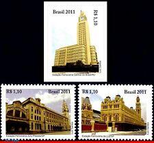 3167-69 BRAZIL 2011 TRAIN STATION, HISTORY,ARCHITECTURE, RAILWAYS & TRAINS, MNH
