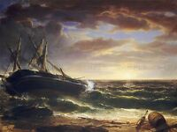 ASHER BROWN DURAND AMERICAN STRANDED SHIP OLD ART PAINTING POSTER BB4882A