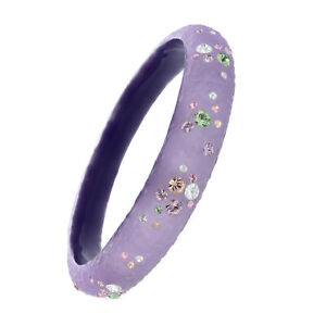 Purple Lucite Bangle With Multi Color Crystals