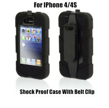 Heave Duty Shock proof Case belt clip Cover For IPHONE 4S & 4 Black Protect OZ
