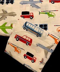 Pottery Barn Kids PBK Twin Bed Flat Top Sheet Brody Transportation Planes Trucks