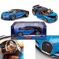 New Bburago 1:18 Highly Detailed Bugatti Chiron Blue Diecast Model