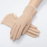 Women's Warist Lace Gloves Vintage Sunscreen UV-Proof Driving Mittens LD