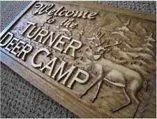 Personalized Name Sign Custom Wood Plaque Man Cave Hunt Deer Bear Cabin Camp