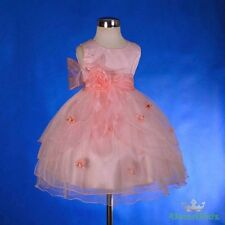 Coral Scoop Formal Flower Girl Dress Wedding Occasion Party Kid Size 6 FG220B