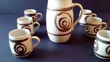 Abaty Stoneware Coffee Set. Made In Wales. Lidded Coffee Pot And Six Mugs.
