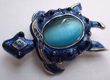 broche bijou vintage couleur argent tortue émail cristaux cabochon bleu 1671
