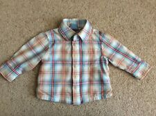 John Lewis Baby Boy age 3-6 months checked cotton long sleeve shirt good con