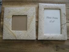 TWO SMALL FREESTANDING BEIGE  PICTURE PHOTO FRAMES