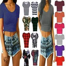 Plain Printed Crop Top Womens Cap Sleeve Vest Ladies Stretchy Belly Tee T-Shirt
