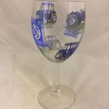 LEYLAND   LARGE WINE GLASS WITH 6 DIFFERENT TRACTORS ON