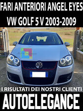 VW GOLF 5 V 03-08 FARI ANTERIORI NERI ANGEL EYES BIANCHI A LED LOOK GTI NO ERROR