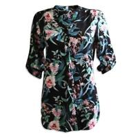 Ex Dorothy Perkins Black Floral Blouse Top Tunic Shirt Size 8 10 12 14 16 18