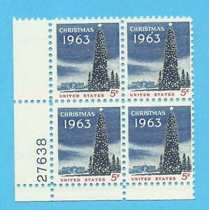 US PLATE BLOCK SCOTT #1240, CHRISTMAS 1963 COMMEMORATIVE - $1.30 - FREE SHIPING