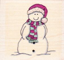 Muñeco De Nieve Sonriente-sello de goma montado madera-Lindsay Mason Designs